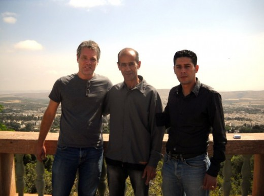 The author (from left), with Mohammed Barqine and Maurat Charef in Sefrou.